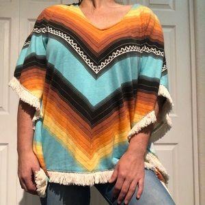Billabong multicolor poncho shirt